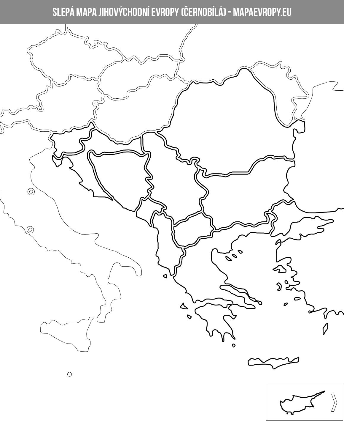 Mapa Jihovýchodní Evropy - Politická A Slepá