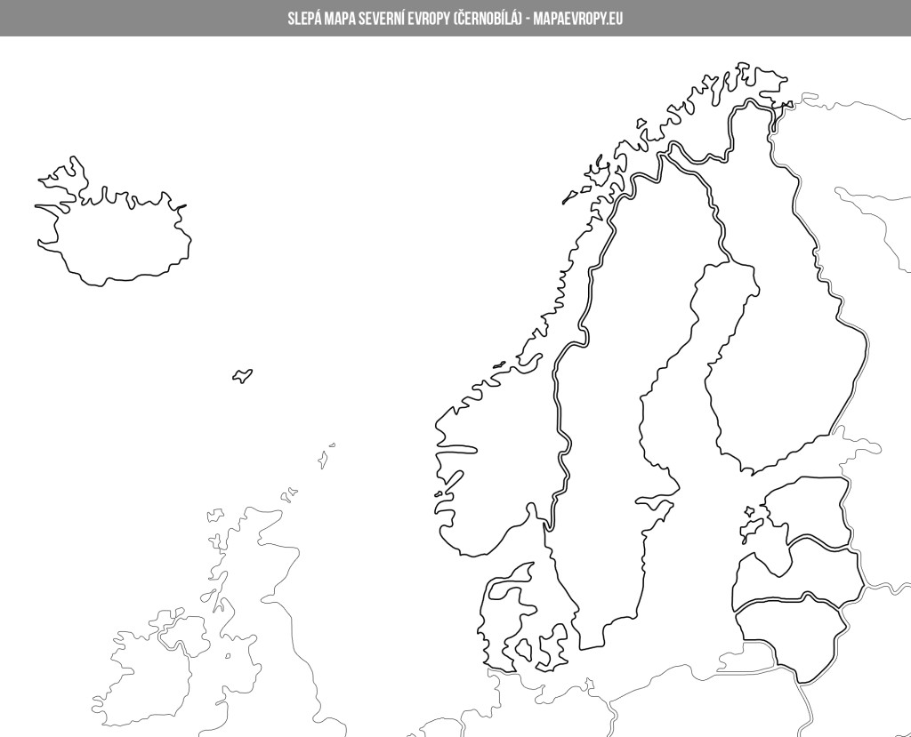 Černobílá slepá mapa severní Evropy