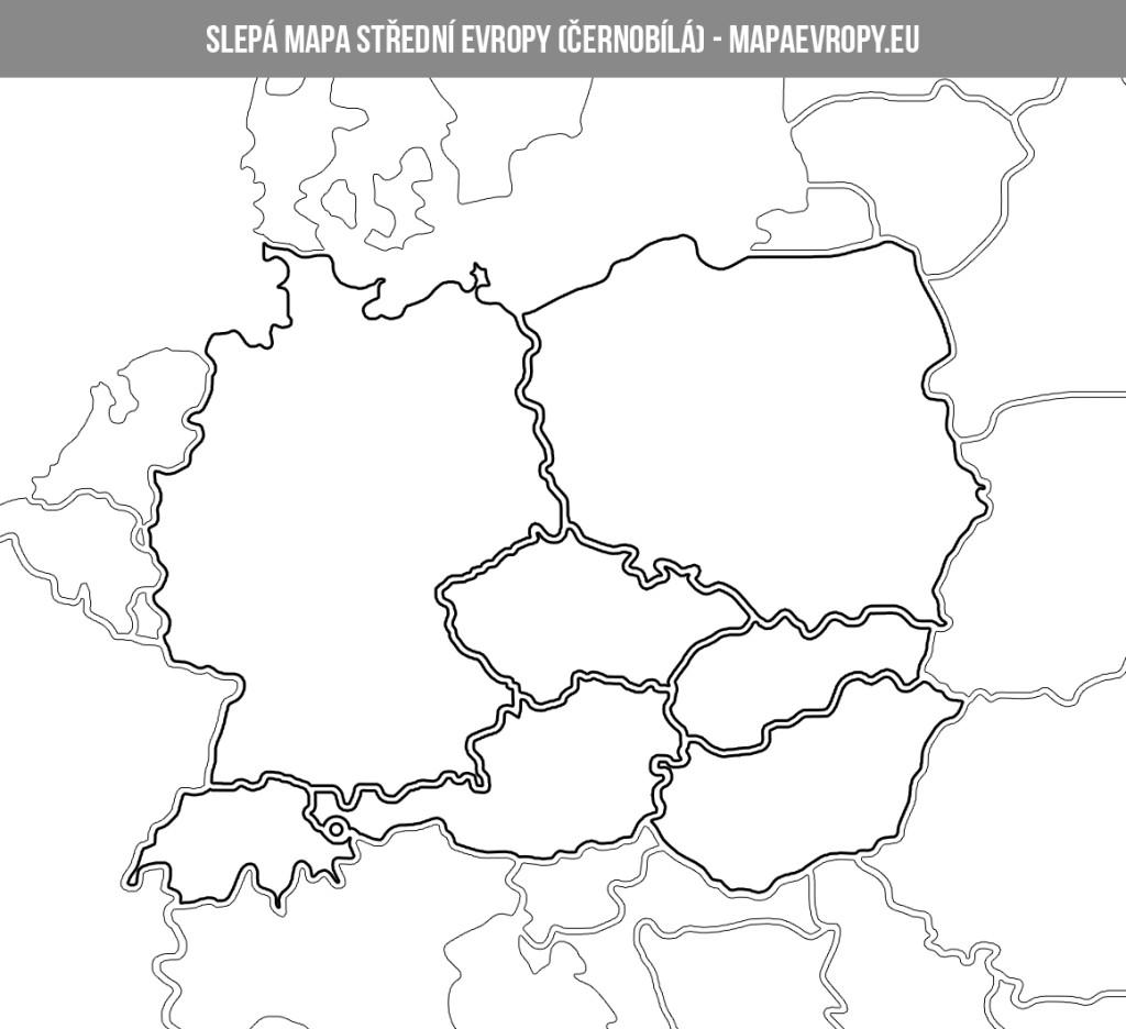 Černobílá slepá mapa střední Evropy