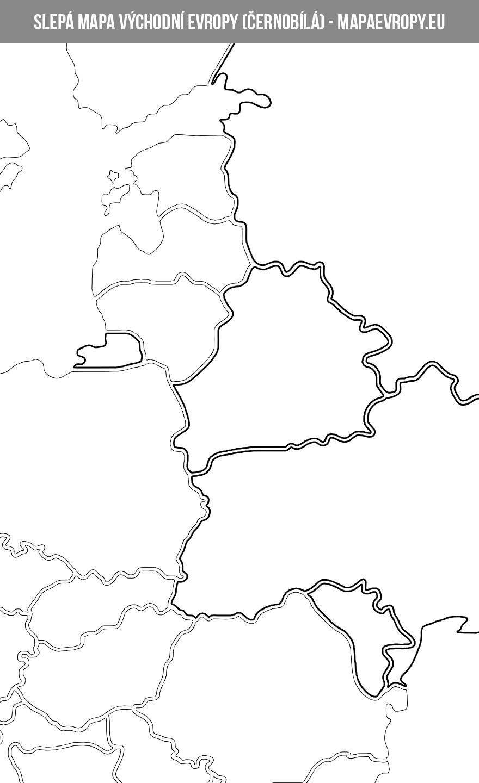 Černobílá slepá mapa východní Evropy