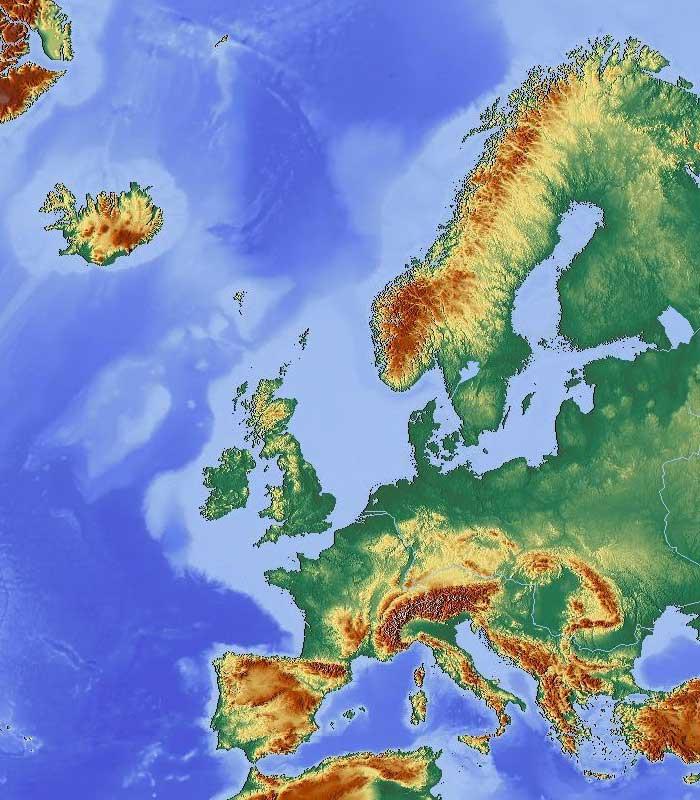 Geografická mapa Evropy