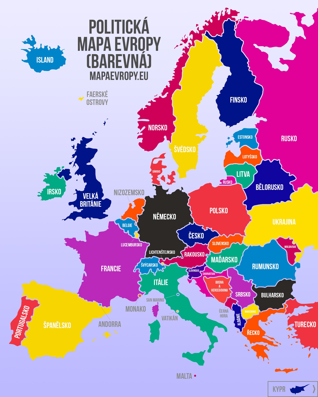 politička mapa evrope Politická mapa Evropy   barevná a černobílá | MapaEvropy.eu politička mapa evrope