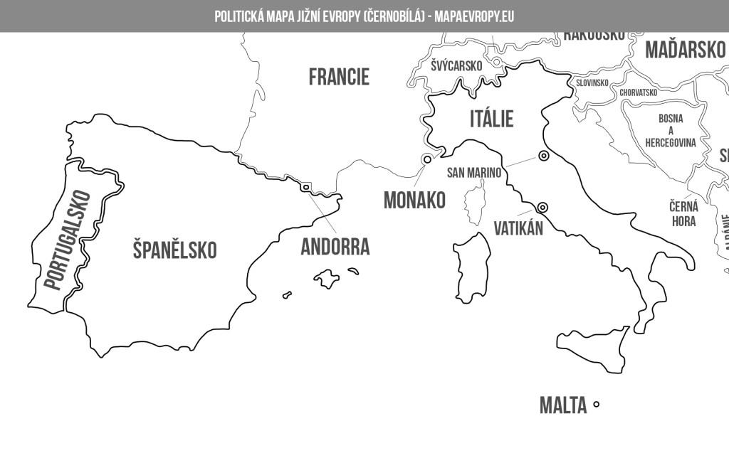 Politická mapa jižní Evropy