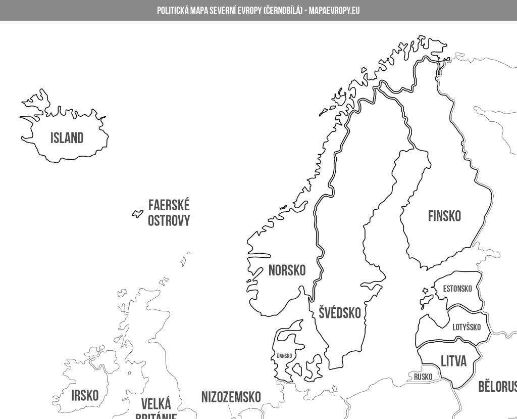 Politická mapa severní Evropy