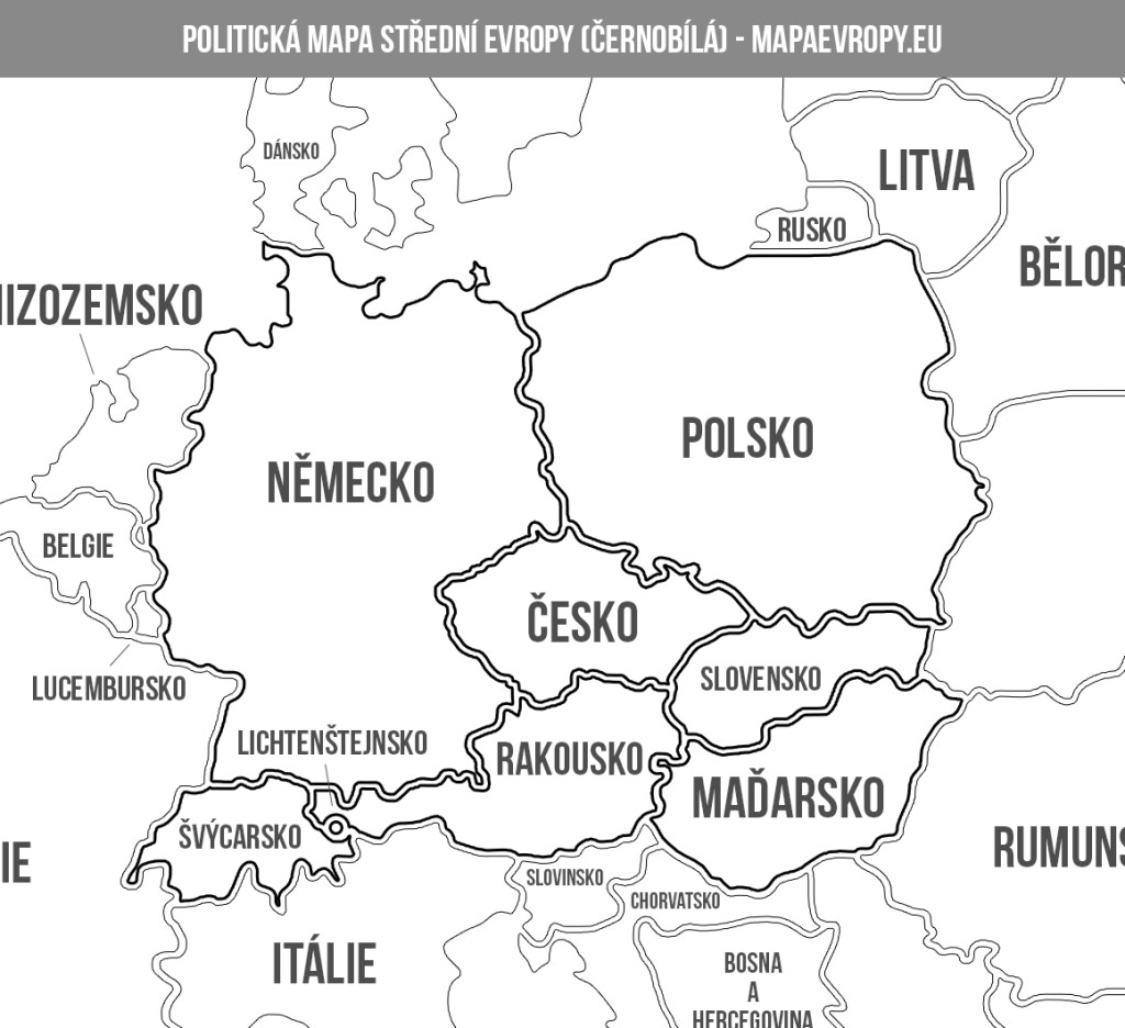 Politická mapa střední Evropy