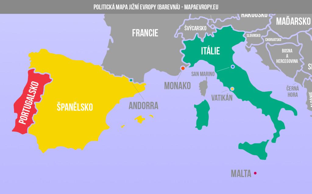 Mapa jižní Evropy