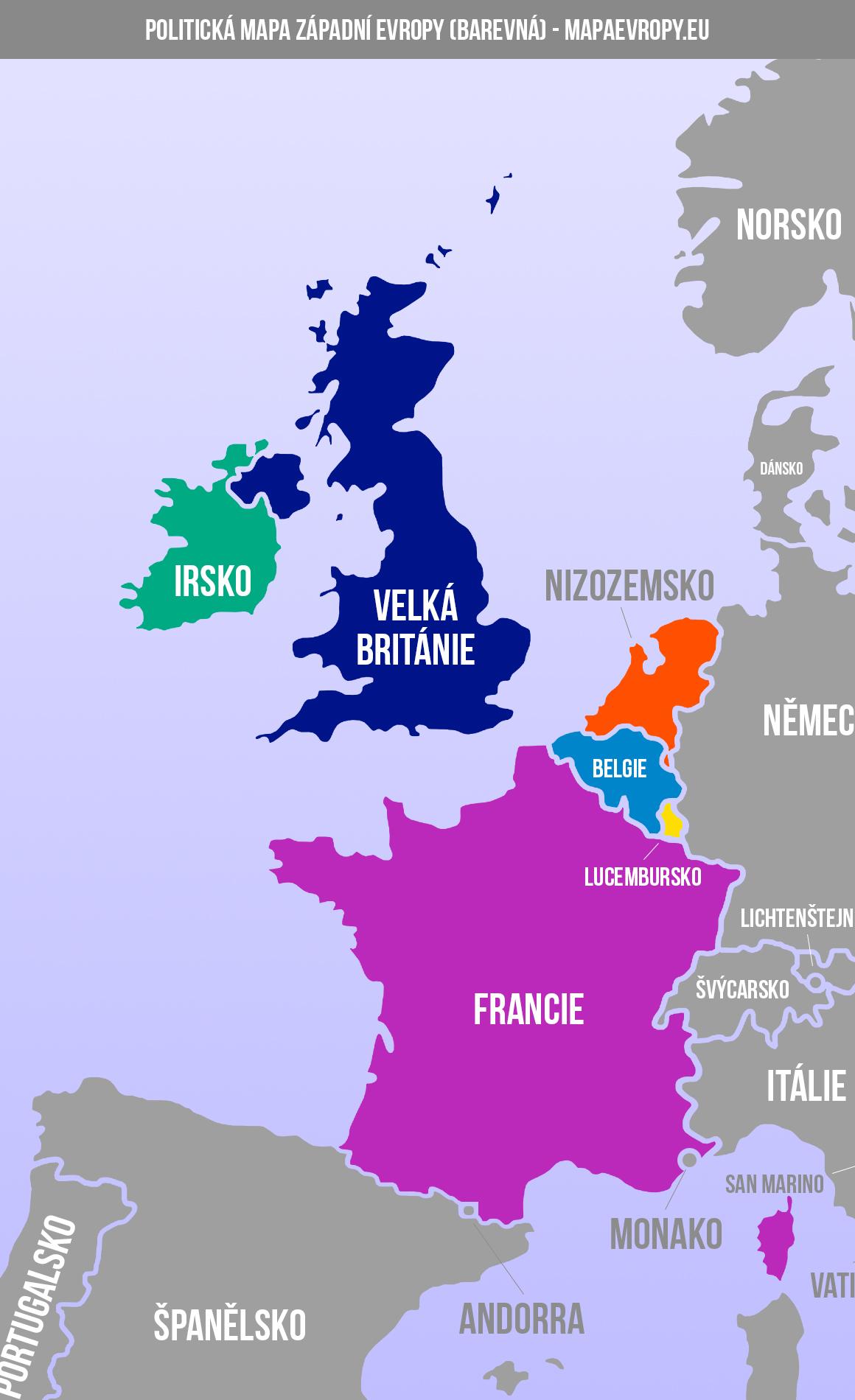 Mapa západní Evropy