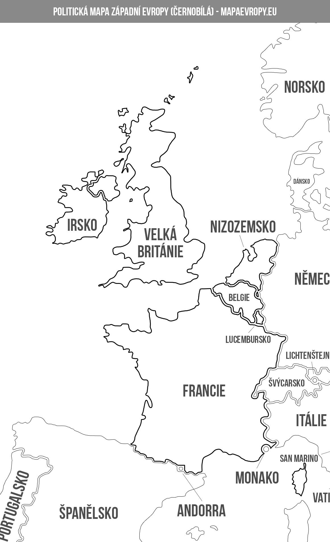 Politická mapa západní Evropy