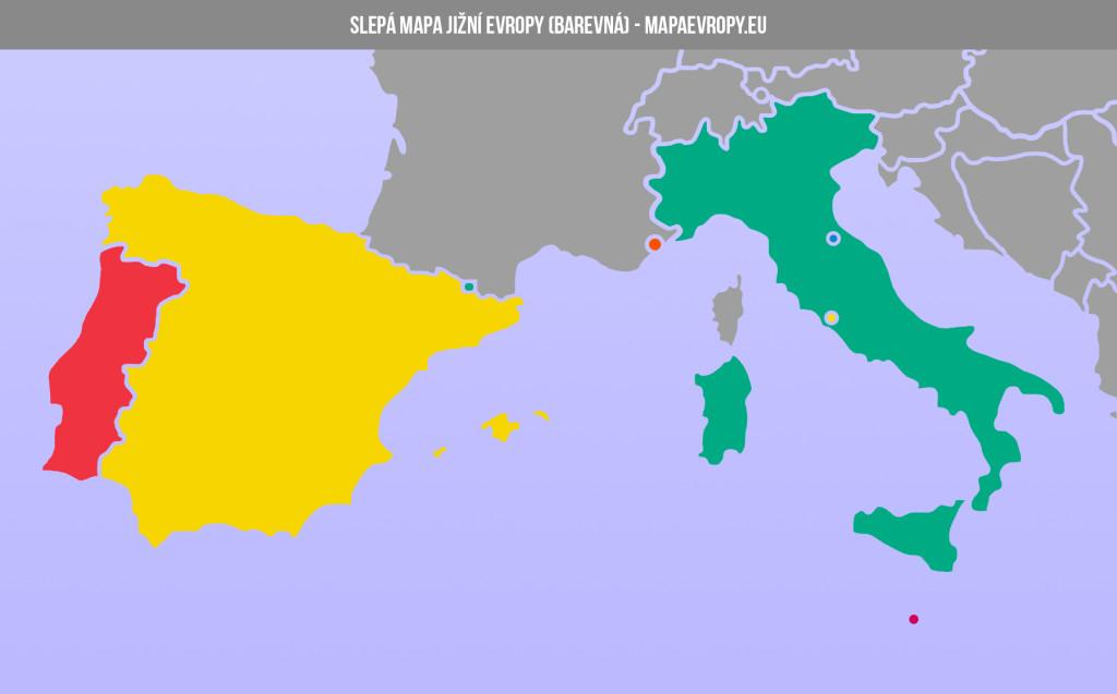 Slepá mapa jižní Evropy